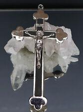 Altes Metall Sterbekreuz - Brustkreuz mit Holzeinlage Jesusfigur 13,5 cm ! Nr. 2