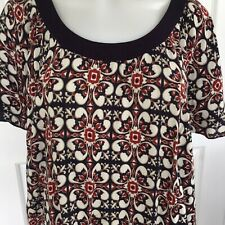 Crossroads Red Print Shift Dress Tunic Short Sleeve Scoop Neckline Size 16 Hippi