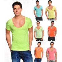 Maglietta maniche corte uomo discoteca scollo V ampio aderente t-shirt palestra