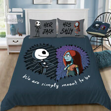 The Nightmare Before Christmas Jack and Sally Duvet Cover Pillowcase Bedding Set