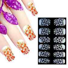 Full Wrap Premium Nail Art Stickers Decals Transfers Lace Flowers (DJU075)