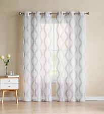 """Two (2) White Sheer Curtains: Gold/Taupe Embroidered Geometric Design 96"""" Long"""