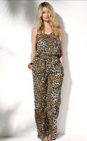 New Yourstyle Cross Back Lightweight Jumpsuit Playsuit Animal Print UK 8,10,12..