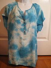 Brina & EM Teal Blue Tie Dye Print Gauzy Boho Tunic Blouse Plus Size 2X