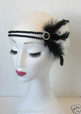 Black and White Feather Headpiece Flapper Silver Headband Great Gatsby 1920s N94