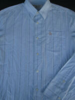 Penguin Mens Button Front Long Sleeve Cotton Blue Stripe Logo Shirt Small S