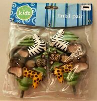 Cambria Kids - Jungle Friends Finials - One Pair  - Absolutely the Cutest -