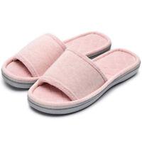 c444c329f817 Women's Comfort Memory Foam Slippers Cotton House Spa Shoes Beige Gray Pink  Blue