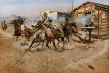Smoke of a .45 by Charles Russell Cowboy Western Horses Guns 36x24 Canvas Print