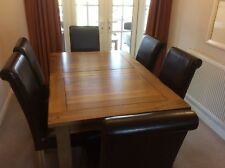 Solid Oak Extending Dining Table and 6 Leather Chairs in Excellent Condition