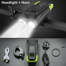 USB Rechargeable LED Bicycle Headlight Bike Head Light Front Lamp Cycling & Horn