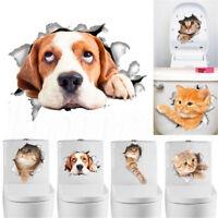 DIY 3D Cat Dog Toilet Seat Wall Sticker Vinyl Art Removable Bathroom Decal Decor