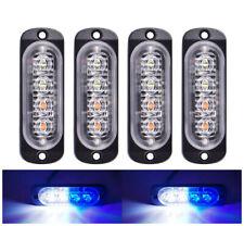 4pcs 4LED Car Strobe Flash Warning Light Grille 24V-12V Traffic White Blue Lamp