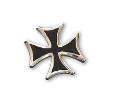 Maltese Cross Jacket or Hat Pin Black Enamel and Pewter (Medium) P-5