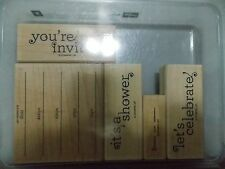 Stampin Up Inviting Shower Celebrate Who What When Set of 5 Wood Mounted L716