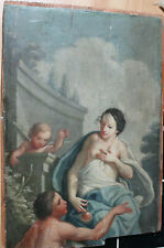 """Tableau ancien HSP """"Marie Madeleine avec angelots"""" Anonyme"""