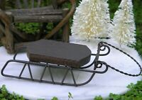 Miniature Dollhouse FAIRY GARDEN Accessories ~ Rustic Wood & Tin Sled Sleigh