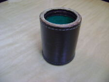 Vintage GENUINE LEATHER DICE CUP made in Japan green felt lined