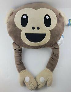 KIDS PREFERRED Emoji No Evil Monkey Brown Large Plush Pillow