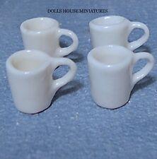 Four White Mugs, Miniature, for a Dolls House Miniature Table Cookware