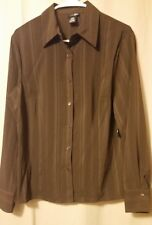 East 5TH - Dark Brown Long Sleeve Button Front Top Size L   NWT      FS12