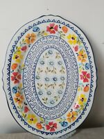 Handpainted Floral.Gibson Elite,Oval Platter Scalloped Edge.B/New 14 inch.