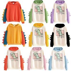 Women Hooded Sweatshirt Ladies Dinosaur Hoodies Jumper Pullover Jacket Coat