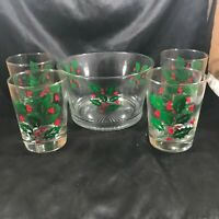 Vintage INDIANA GLASS Holly Berry Glass Ice Bucket and Tumbler Set
