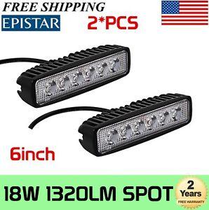 2X 18W 6in LED Strip Work Light Spot Lamp Offroad Driving Fog 4WD UTE SUV 16W48W