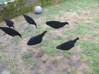 6 MIXED LIGHTWEIGHT PACKABLE SILLOSOCK WIND MOTION FLOCKED VELOUR CROW DECOYS