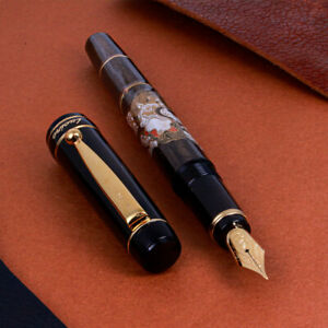"NEW Pilot ""Lucina"" Black Customized Modern Maki-e 14K Gold M Nib Fountain Pen"