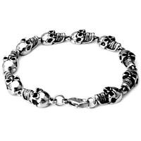 Fashion Men Stainless Steel Skull Bracelet Retro Punk Rock Link Chain Bangle