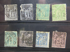 France Stamps, Lot of 8, Peace and Commerce Series, 64 | 108, Used, Hinged