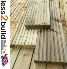 TREATED TIMBER DECKING BOARDS CHUNKY 35x150mm 4.8M LONG Natural wood