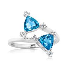 Topaz 2.30 CT Gemstone Diamond Ring Fine 14K White Gold Rings Size N M P
