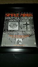 Simple Minds Don't You Forget About Me Rare Original Promo Poster Ad Framed!