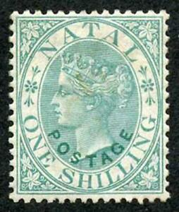Natal SG59 1870 1/- Opt POSTAGE in Green Re-gummed and cleaned