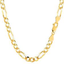 10K Yellow Gold Solid Figaro Chain Bracelet, Width 5.0mm