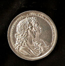 1689 ENGLAND, William and Mary Coronation, 37mm, silver, EF+ Rare medal