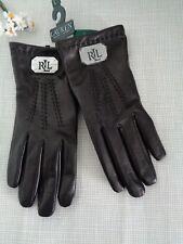 BNWT RLL Ralph Lauren Black Leather Gloves  L
