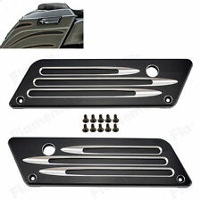 Black CNC Hard Smooth Cut Saddlebag Latch Cover Kit For Harley Touring 1993-2013