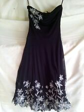 JANE NORMAN Black sequenced spray floral dress 8