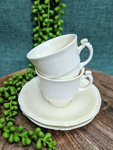 Vtg Sets (4pcs) Royal Winton Grimwades Cream Pale Yellow Cup & Saucer Demitasse