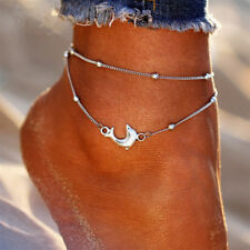 Silver Double Layer Round Bead/Dolphin Anklet Beach Foot Chain Ankle Bracelet S