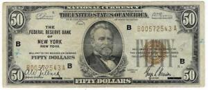 1929 US $50 FIFTY DOLLAR NEW YORK NATIONAL CURRENCY FR1880B - UGRADEIT