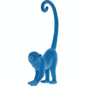 Blue Flocked Long Tail Monkey Ornament