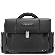 Piquadro Link black organized briefcase w/ two gussets CA1045LK/N