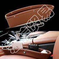 2PC PU Leather Car Seat Gap Slit Pocket Storage Organizer Catcher Box Caddy