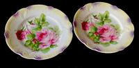 "2 Vintage Porcelain PK Silesia Floral Salad/Decor Plates Iridescent Germany 7"""