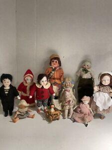 Lot 11 Antique Bisque German / Nippon Dollhouse Dolls Dressed!